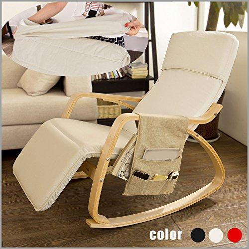Sobuy schaukelstuhl mit verstellbarem fussteil beige for Stuhl zum stillen