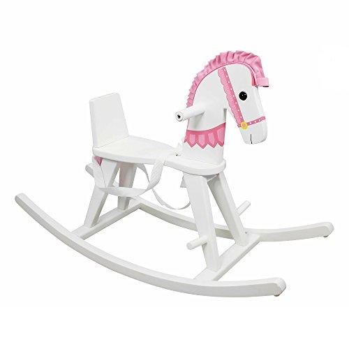 Teamson Kinder Schaukelpferd TD-0003A Kids Safari Weiß mit rosa Pad