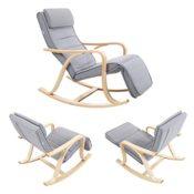 SONGMICS Schaukelstuhl Relaxstuhl 5-fach verstellbare Wadenstütze grau LYY41G verschiedene Ansichten